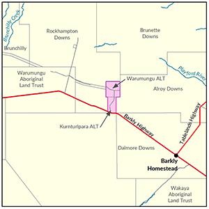 Kurnturlpara and Warumungu Aboriginal Land Trusts locality map