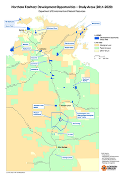 NT development opportunities study areas 2014 to 2020 - Map of the Northern Territory