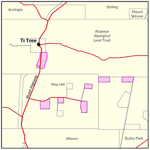 Ti Tree locality map