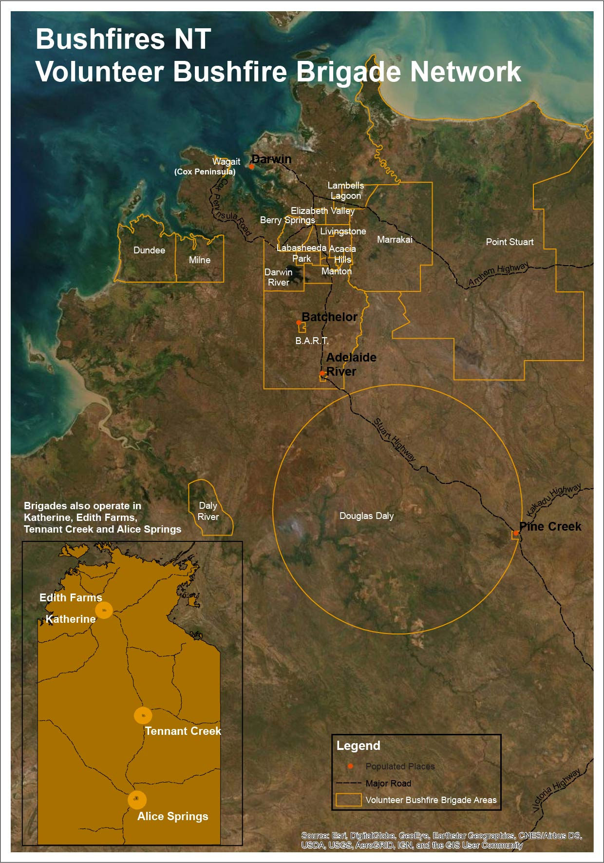 Map showing the areas managed by Volunteer Bushfire Brigades